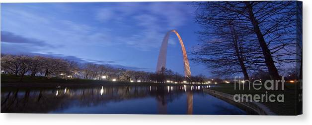 Gateway Arch Canvas Print featuring the photograph Gateway Arch At Dawn Panoramic by Sven Brogren