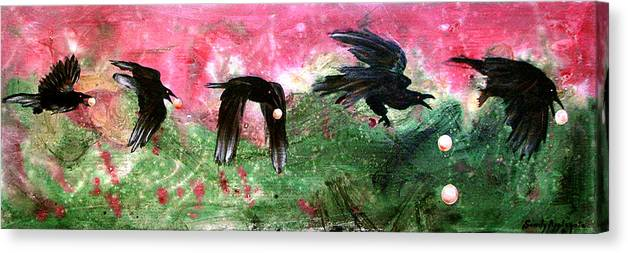 Raven Canvas Print featuring the painting Linking Fancy Unto Fancy by Sandy Applegate