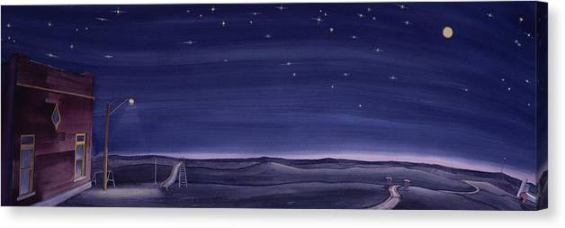 Prairie Canvas Print featuring the painting Lonesome Playground At Night by Scott Kirby