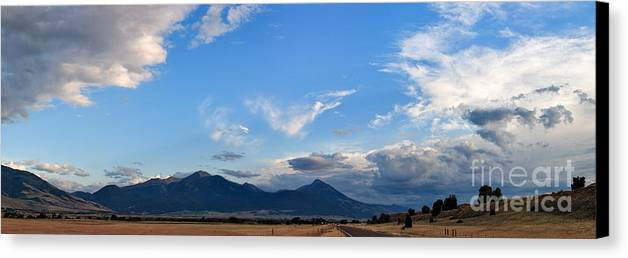 Dusk Canvas Print featuring the photograph Dusk Over The Gallatin Range by Charles Kozierok