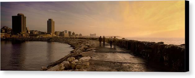 Marina Pier Canvas Print featuring the photograph Marina Pier And Pan Of Coast by Daniel Blatt