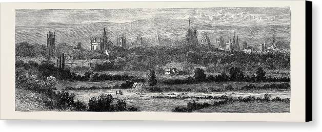 Oxford Canvas Print featuring the drawing Oxford, From Headington Hill by English School
