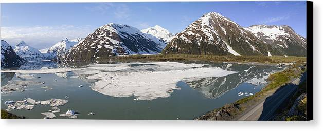 Alaska Canvas Print featuring the photograph Portage Lake Panorama by Tim Grams