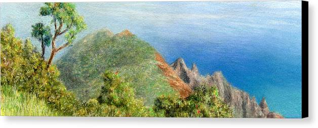 Rainbow Colors Pastel Canvas Print featuring the painting Kalalau View by Kenneth Grzesik