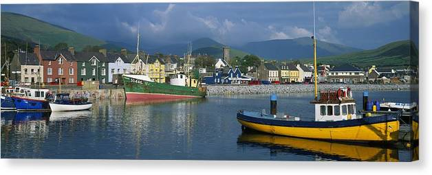 Atlantic Canvas Print featuring the photograph Boats Moored At A Harbor, Dingle by The Irish Image Collection