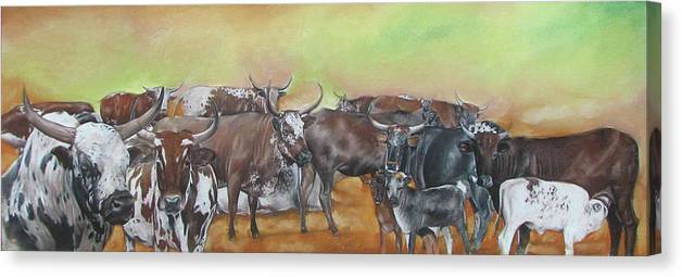 Nguni. Cows Canvas Print featuring the pastel Ngunis Across The River by Boarding Dzinotizei