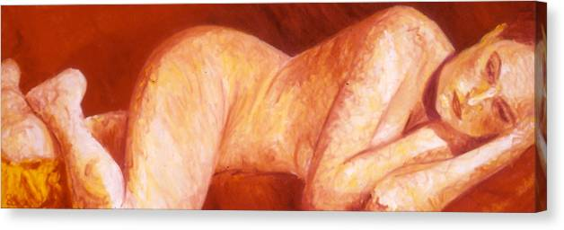 Portrait Canvas Print featuring the painting Nude by LB Zaftig