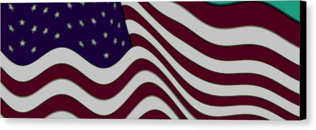 Enhance Enhanced 50 Fifty Star Stars Bar Bars Stripe Stripes Fly Flying Flew Flown 13 Thirteen Abstract Abstractly Memorial Day July 4th 1776 Independence Day Flag Day June 4th Iris Maroon Marooned Red Crimson Burgundy Blue Violet Indigo Grey Gray White Snow Washington Dc The White House Oval Office Air Force One Marine One President Barack Obama Freedom Slavery Slaves Land Of The Free Home Of The Brave Braves Bravery Us Marines Fighting Men These Colors Don't Run Usa Love It Or Leave It Canvas Print featuring the digital art Abstract 50 Star American Flag Flying Enhanced Cropped X 2 by L Brown
