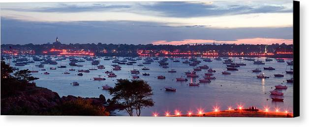 Marblehead Harbor Canvas Print featuring the photograph Panoramic Of The Marblehead Illumination by Jeff Folger