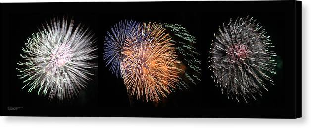 Las Vegas Nv Canvas Print featuring the photograph Three Bursts Of Fireworks Four July Two K Ten by Carl Deaville