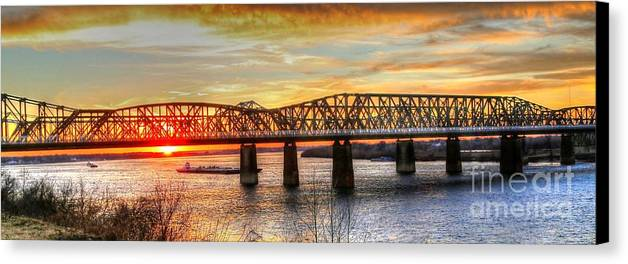 Memphis Canvas Print featuring the photograph Harahan Bridge In Memphis,tennessee At Sunset by Billy Morris