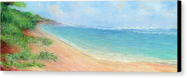 Rainbow Colors Pastel Canvas Print featuring the painting Aliomanu Beach by Kenneth Grzesik