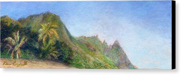 Rainbow Colors Pastel Canvas Print featuring the painting Beach Palms by Kenneth Grzesik