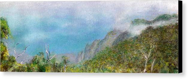 Rainbow Colors Pastel Canvas Print featuring the painting Kalalau Mist by Kenneth Grzesik