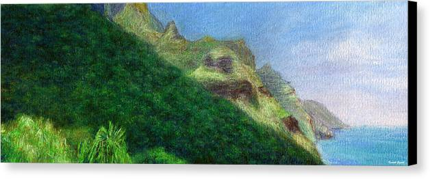 Rainbow Colors Pastel Canvas Print featuring the painting Passing Shadow by Kenneth Grzesik
