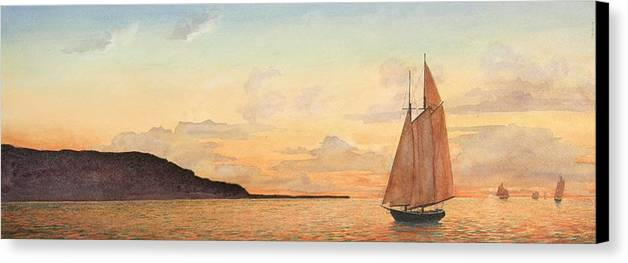 Seascape Canvas Print featuring the painting Returning Home by Stephen Bluto