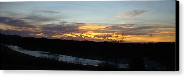 Sunrise Canvas Print featuring the photograph River Sunrise One by Ana Villaronga