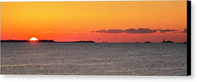 Sakonnet Canvas Print featuring the photograph Sakonnet Point Sunrise And Lighthouse by Bill Cannon