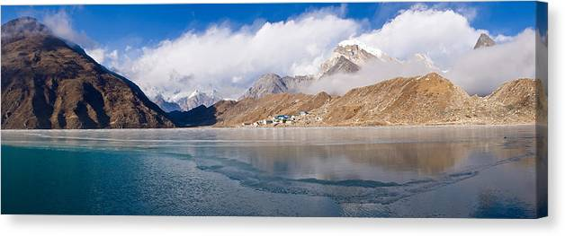 Photography Canvas Print featuring the photograph Lake With Mountains In The Background by Panoramic Images