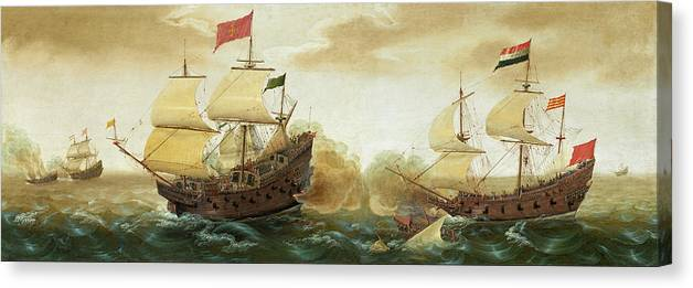 Cornelis Verbeeck Canvas Print featuring the painting A Naval Encounter Between Dutch And Spanish Warships by Cornelis Verbeeck