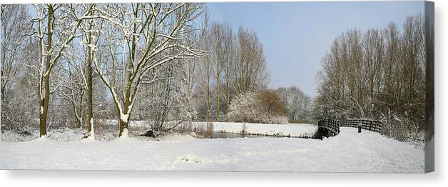 Panorama Canvas Print featuring the photograph Snowy Landscape by Erin Larcher