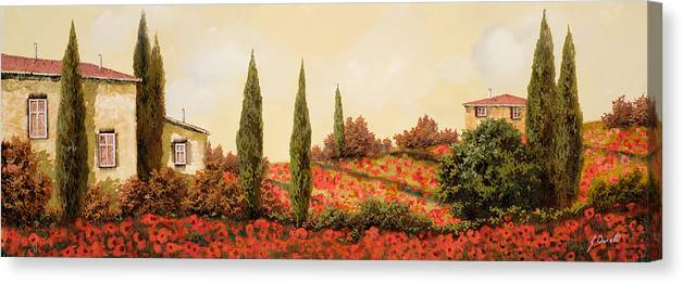 Landscape Canvas Print featuring the painting Tre Case Tra I Papaveri by Guido Borelli