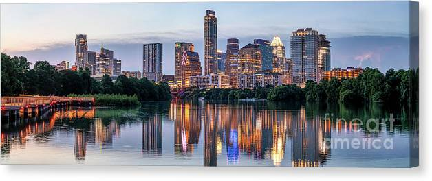 Austin Skyline Canvas Print featuring the photograph Austin Texas Images - Austin Skyline Panorama At Twilight by Bee Creek Photography - Tod and Cynthia