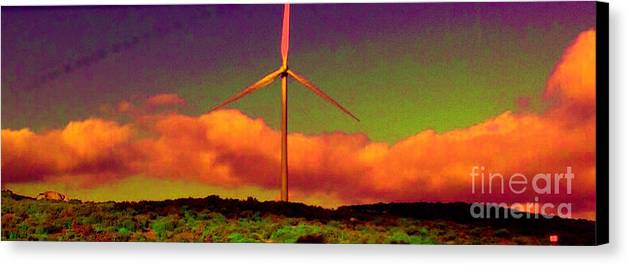 Canvas Print featuring the photograph A Western Windmill by Angela L Walker
