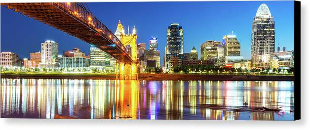 Cincinnati Panoramic Canvas Print featuring the photograph Kentucky View Of The Cincinnati Ohio Skyline - Panorama by Gregory Ballos