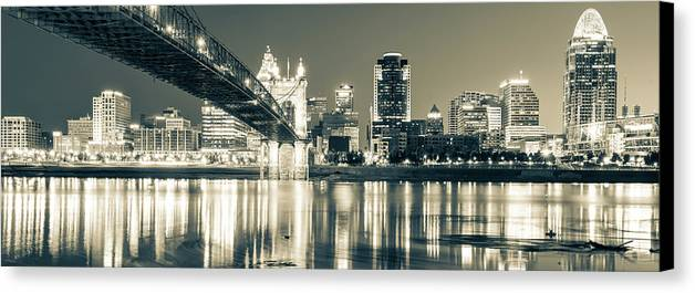 America Canvas Print featuring the photograph Kentucky View Of The Cincinnati Ohio Skyline - Sepia Panorama by Gregory Ballos