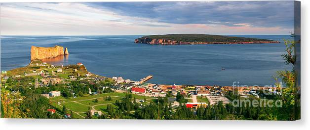 Perce Canvas Print featuring the photograph Panoramic View In Perce Quebec by Elena Elisseeva