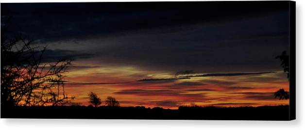 Sunrise Canvas Print featuring the photograph Sunrise Over The Fields Of Athenry. by Lars Tovander