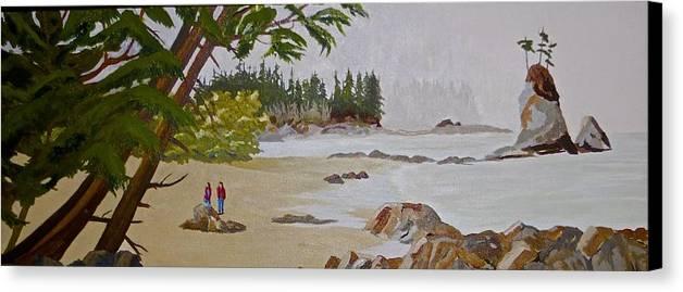 Beach Sand Rock Surf West Coast Canvas Print featuring the painting Brady Beach #2 by Rich Williams