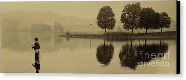Fishing Canvas Print featuring the photograph Fishing At Marsh Creek State Park Pa. by Jack Paolini