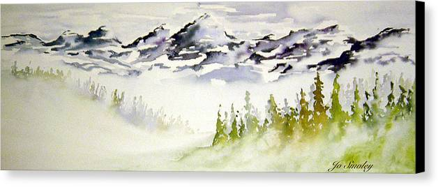Rock Mountain Range Alberta Canada Canvas Print featuring the painting Mist In The Mountains by Joanne Smoley