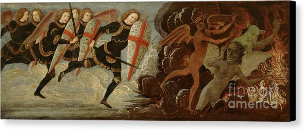 Michael Canvas Print featuring the painting St. Michael And The Angels At War With The Devil by Domenico Ghirlandaio