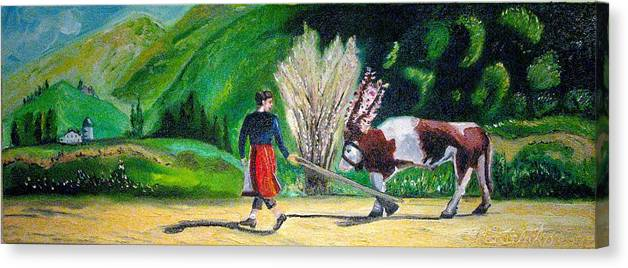 European Canvas Print featuring the painting Swiss Girl by Patricia Arroyo