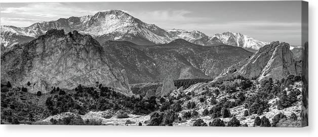 Pikes Peak Panorama , Garden Of The Gods , Colorado Springs , Black And  White Canvas Print