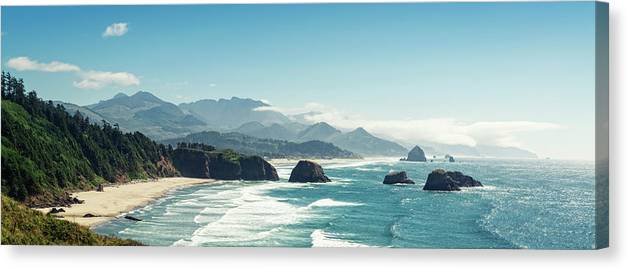 Scenics Canvas Print featuring the photograph Panoramic Shot Of Cannon Beach, Oregon by Kativ