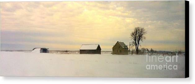 Orange Canvas Print featuring the photograph Lost In Quebec's Winter 2 by Celyna V Champagne