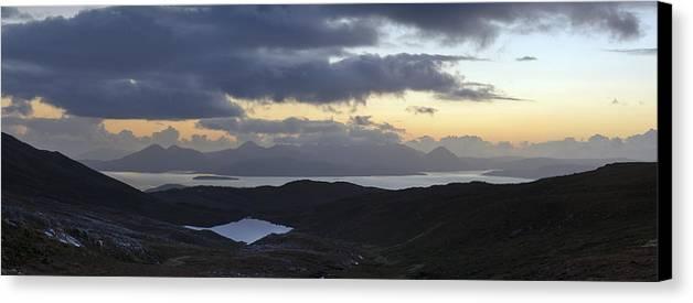 Applecross Peninsula Canvas Print featuring the photograph Dusk Panorama Of Skye by Gary Eason