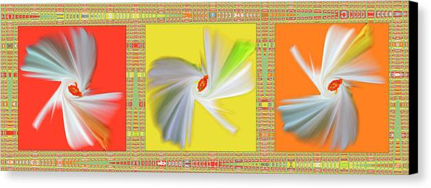 Abstract Canvas Print featuring the digital art Dancing Flower Trio by Ben and Raisa Gertsberg