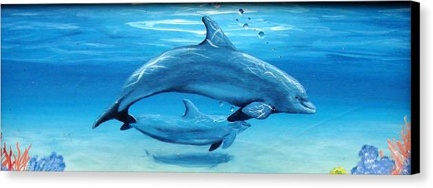 Dolphin Canvas Print featuring the painting Momma by Darlene Green