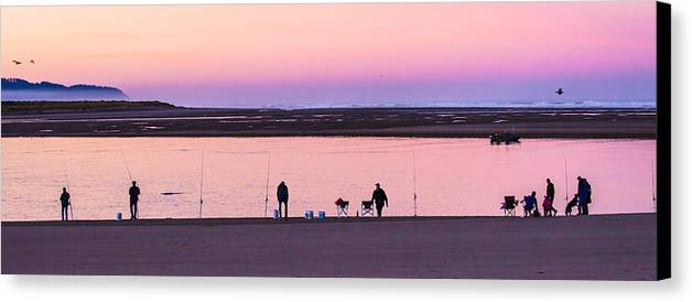 Sunrise Canvas Print featuring the photograph Morning Crab Fishing by Jim Young
