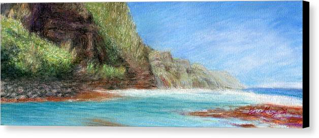 Rainbow Colors Pastel Canvas Print featuring the painting Na Pali by Kenneth Grzesik
