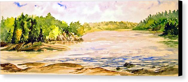 Pine Falls Manitoba Canvas Print featuring the painting Plein Air At Pine Falls Manitoba by Joanne Smoley