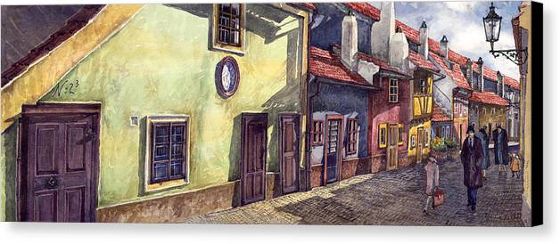 Watercolour Canvas Print featuring the painting Prague Golden Line Street by Yuriy Shevchuk