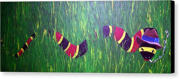 Coral Snake Canvas Print featuring the painting Snake In The Grass by Sharon Supplee