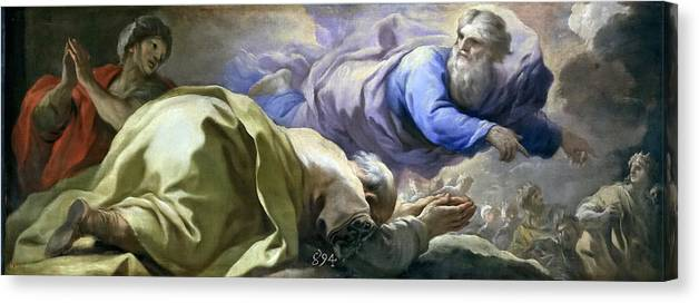 Luca Giordano Canvas Print featuring the painting Abraham Heard The Promises Of The Lord by Luca Giordano