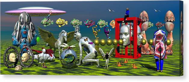 Surrealism Canvas Print featuring the painting Field Of Dreams by Robert Maestas